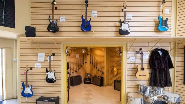 Musical instruments in a pawn shop